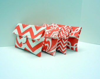 Coral Bridesmaid Clutches Set of 4