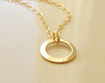 Tiny Karma Circle Necklace, 14kt Gold Filled Charm, 10mm Karma Circle Charm, Gold Charm Necklace, Karma Charm Necklace