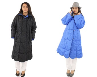 Vintage 80s Reversible Quilted Puffer Coat Nylon Raincoat Blue Black Scalloped Womens Outerwear 1980s Jacket Womens Long Winter Coat