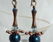 Blue and copper Sputnik earrings
