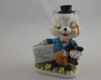 """Vintage Cat in Suit Figurine Ceramic and Cynical """"Money Will Get You Everywhere"""""""
