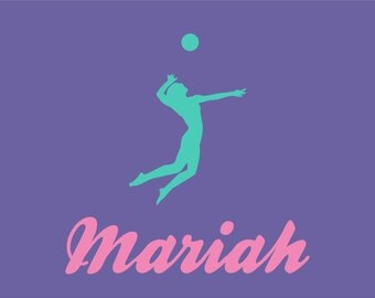 Girls Volleyball Wall Decal Personalized Name Sports Theme - Vinyl volleyball wall decals