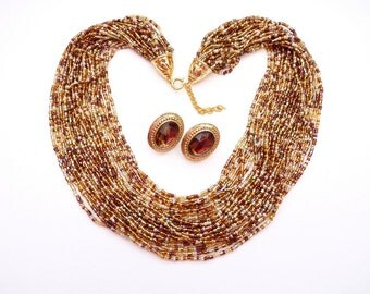 Vintage  24 Strand Metallic Seed Bead Necklace and Earrings 18 Inch Amber and Topaz Colored Bead Necklace
