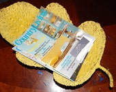 Reserved for Jag....Large Yellow Vintage Metal Footed Woven Rattan Basket shaped like a Leaf . Bowl Basket Stand Magazine Rack