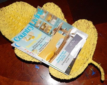 Large Yellow Vintage Metal Footed Woven Rattan Basket shaped like a Leaf . Bowl Basket Stand Magazine Rack