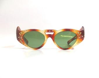 Vintage 50s 60s Sunglasses Cat Eye Fantastic Rhinestone Frame