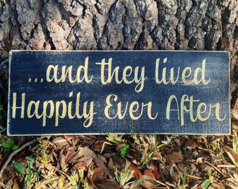 16x6 Happily Ever After (Choose Color) Rustic Shabby Chic Sign