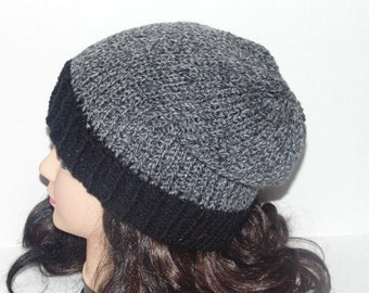 Grey and Black Knit Hat, Slouchy Knitted Hat, Charcoal Grey Hat, Beanie, Mans Accessories, Womans Accessories, Winter Hat