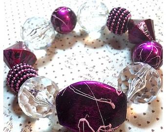 Clearance - Handmade Hot Purple Bracelet - was 12.00