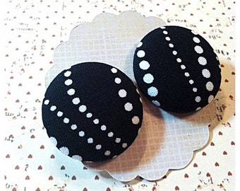 Funky black and white Dots Button Earrings