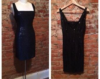 80s black sequin dress