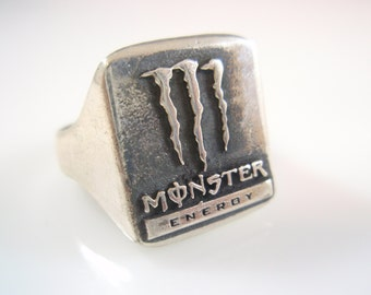 Energy Drink logo Ring solid  Sterling Silver 925