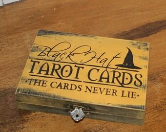 Black Hat/Tarot Cards/The Cards Never Lie/Tarot Card Box Holder/Playing Card Box Black Cat/Card Box/Halloween Decor/Game/Halloween Party