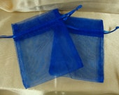 "30---3"" X 4""  Royal Blue Organza Sheer Favor Bags, Table Decor, Reception, Thank you, Candy, Rice, Birdseed, Head Table, Bride, Groom"
