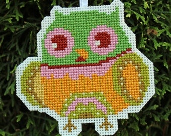 Handmade Owl Cross Stitch Ornament