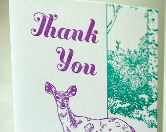 SALE - Thank You Letterpress card - Deer Thank You