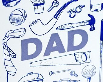 SALE - Letterpress Father's Day Card - Dad Stuff - 60% off