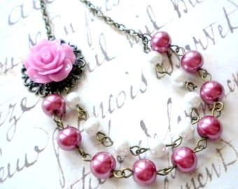 Purple Necklace Flower Necklace Purple Bridal Necklace Purple Bridesmaid Necklace Flower Wedding Jewelry Garden Party Rose Necklace