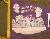 vintage souvenir travel vacation pennant, washington's mansion mt. vernon va.