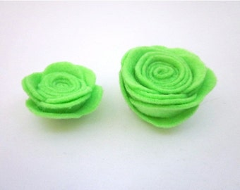 Green Flower Pin Accessory -- Small or Medium Flower -- Lime Clip -- Lime Felt Flower -- Lime flower Brooch Pin -- Lime Green Lapel Pin