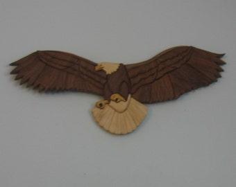 wood eagle, handmade intarsia wall hanging