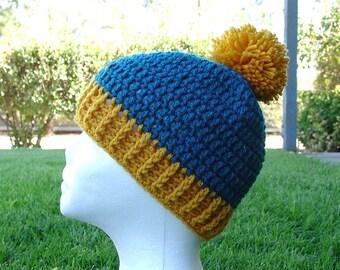 Handmade Crochet Beanie Cap Hat Teal Gold Anaheim Ducks Hockey