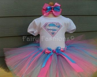 Custom Tutus..SUPERGIRL SPARKLE TUTU set..birthday, halloween, trick or treat, princess, 3,6,9,12,18,24 months, 2T,3T,4T,5T,6T years,costume