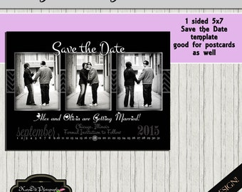 Black Classic Chevron 1 sided  INSTANT DOWNLOAD Save the Date Template/PSD  5x7