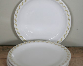 vintage buffalo china plates mustard and white set of four