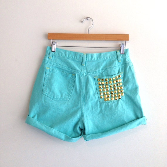 Studded Teal High Waist Denim Shorts Size Medium