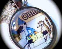 OHHH! Mordecai, RIGBY, & Baby Ducks . Glass Pendant Necklace . REGULAR Show . Funny . GirlGameGeek