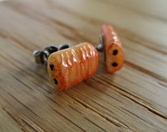 Pain Au Chocolat Chocolate Croissant Post Earrings - Miniature Food Jewelry - Tiny Food Jewelry