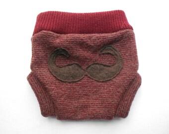 Mustache you sweater wool diaper soaker-small
