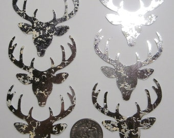 6 Silver Foil Reindeer diecuts - Christmas cardstock punches