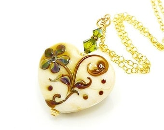 Heart Necklace, Valentine Jewelry, Lampwork Necklace, Heart Jewelry, Beadwork Necklace, Ivory Gold Heart Necklace, Romantic Gift For Her