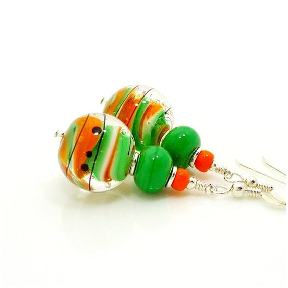 Green & Orange Swirl Earrings, Lampwork Earrings, Glass Earrings, Funky Earrings, Modern Earrings, Beadwork Earrings, Unique Earrings
