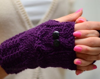 Owl, Purple Owl Gloves, Hand Knit Owl Gloves, Fingerless Owl Gloves, Arm Warmers, Deep Purple, Plum Gloves, Fall Fashion