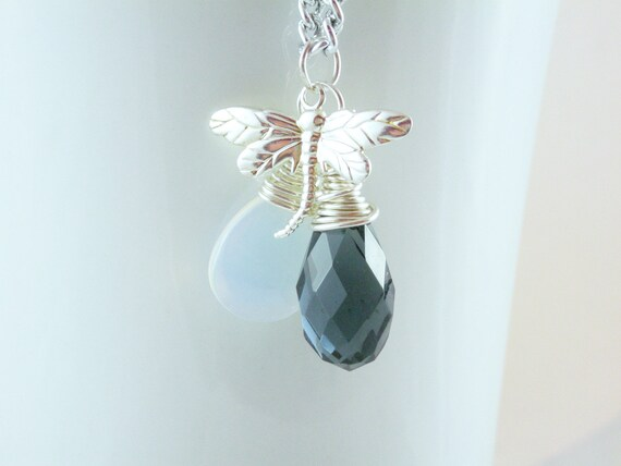 Silver Dragonfly Charm Moonstone Teardrop Glass Blue Crystal Wire Wrapped Pendant