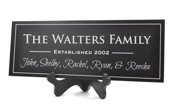 Family Name Established Sign Plaque Personalized Family Name Sign 8x24 Carved Engraved Wall Sign wedding or anniversary gift