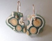 Reserved for Rich --- Orbicular Ocean Jasper Drusy Slices Solid 14k Rose Gold Earrings