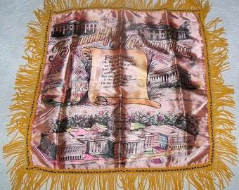 Vintage 1940s  Washington DC Pink Satin Souvenir Pillow Case Cover with Fringe Unused