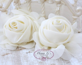 "New: Gladys Collections - IVORY 3.75"" Chiffon Silk Rolled Rosette Rose Fabric Flowers. Wedding Supplies. Hair Applique. Headband Flowers."