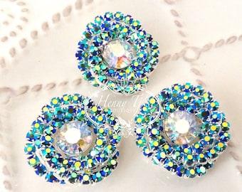 25mm - 4 pcs Silver Metal Crystal AB Green Swirl Rhinestone Buttons Embellshments - wedding / hair / dress / garment accessories