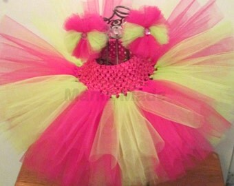 Girl's Tutu, Pink and Green Tutu, Green and Pink Birthday Tutu, Fuchsia and Lime Green Tutu with matching Hair accessory, Flower Girl Tutu
