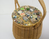 RESERVE for Yue:  MEMORY ART Assemblage/Found Object Outsider Folk Art Treasure Basket with Handle
