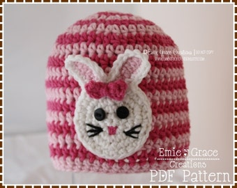 Rabbit Hat Crochet Pattern, 8 Sizes from Newborn to Adult, SOME BUNNY LOVES You - pdf 114