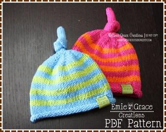 Knot Hat Knitting Pattern, 8 Sizes from Newborn to Adult, BECKHAM - pdf 802