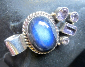 Vintage Sterling Silver Blue Labradorite Amethyst Pendant