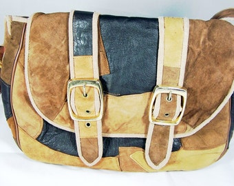 Vintage Patchwork Leather Bag Unsigned