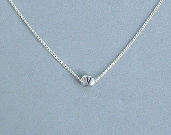 Initial V Bead Necklace
